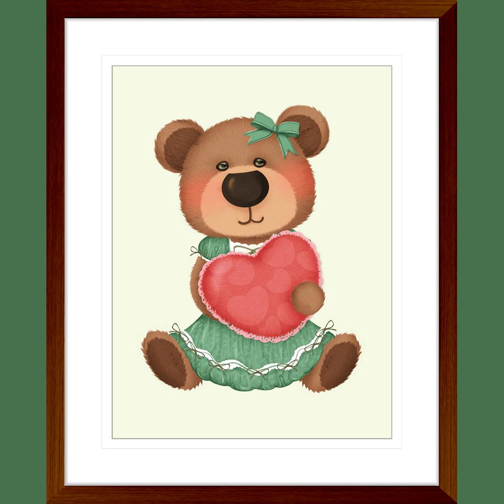 Bear-Buddies-Collection-02-Framed-Art-Print-BEAR02-Teak