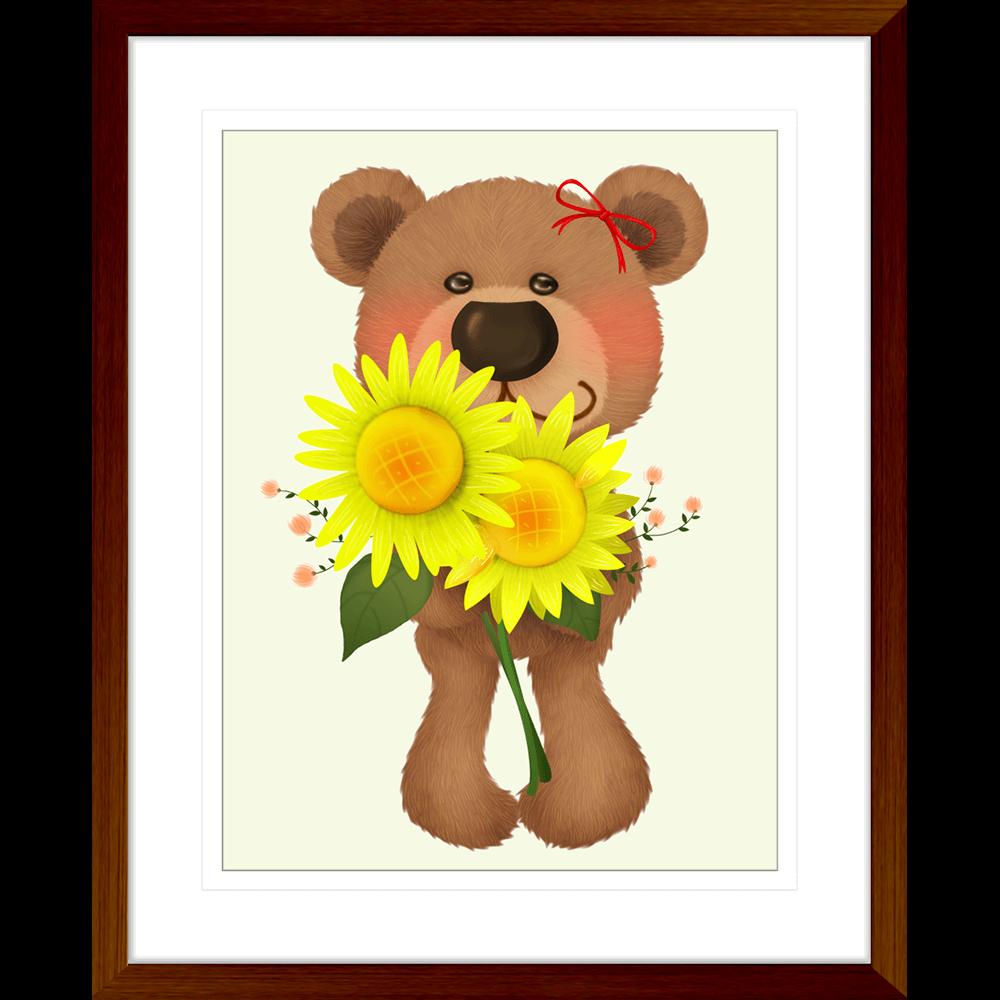Bear-Buddies-Collection-03-Framed-Art-Print-BEAR03-Teak