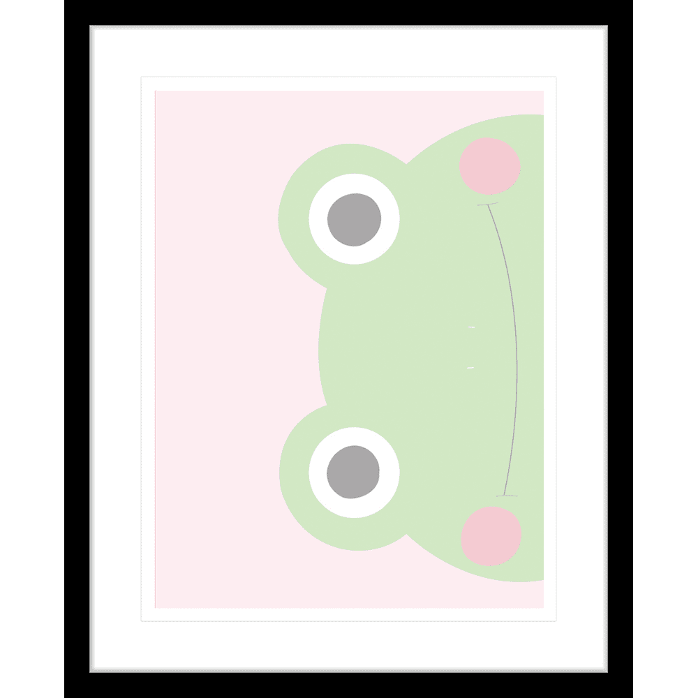 Sideways Frog Faraway Friends Collection #02 - Framed Art Print - FAR02 Blk