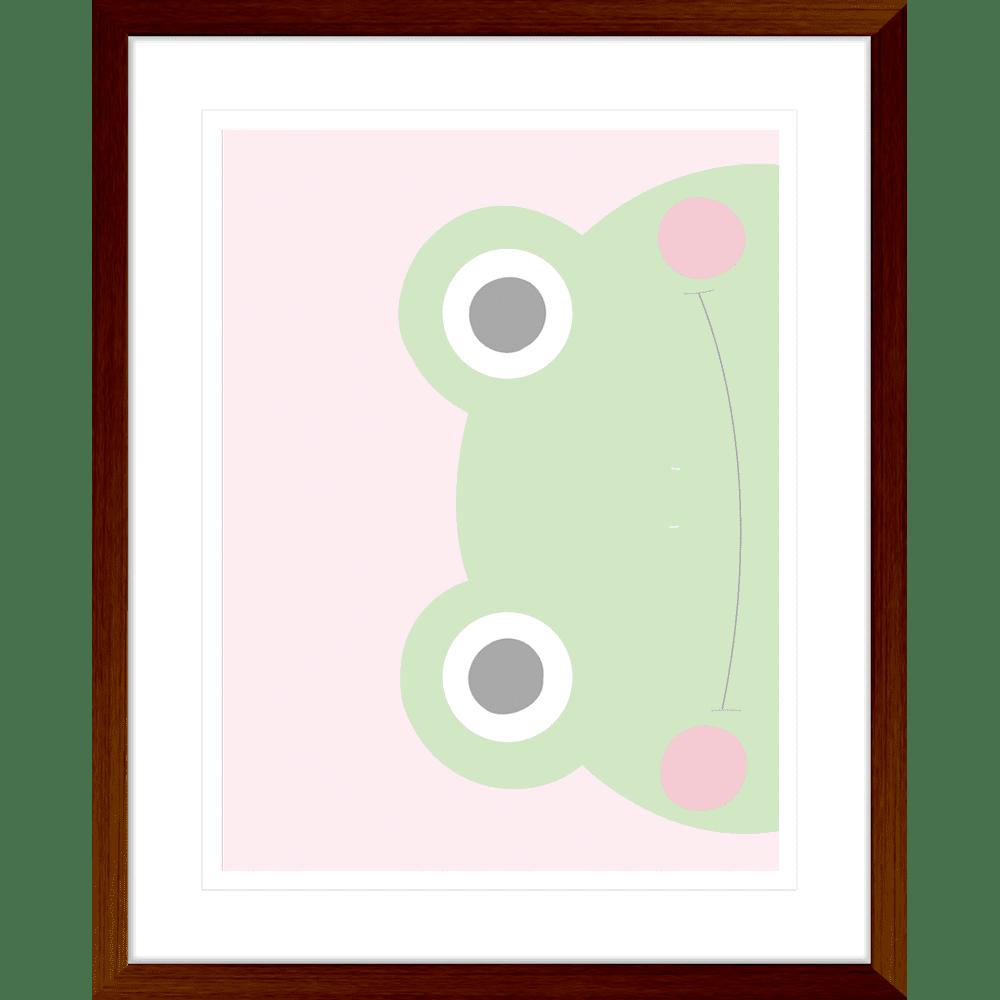 Sideways Frog Faraway Friends Collection #02 - Framed Art Print - FAR02 Teak