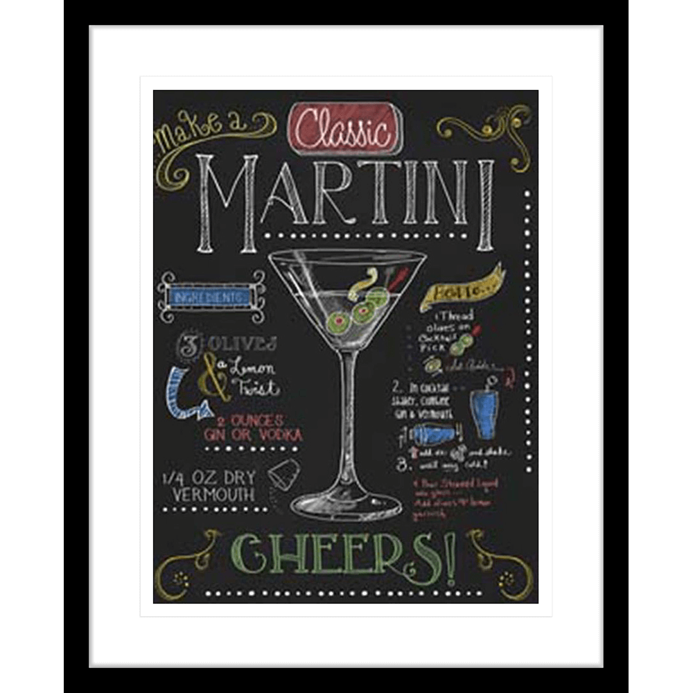 Martini-BLK | Framed Art | Wall Art Gold Coast | Wallpaper | Innovate Interiors