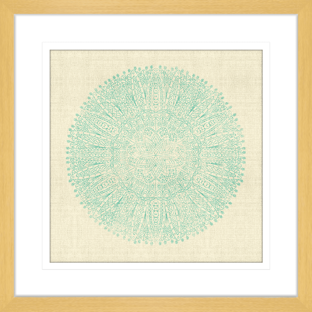 Mudcloth Mandala Collection - MUD05 - Framed Art Print Oak
