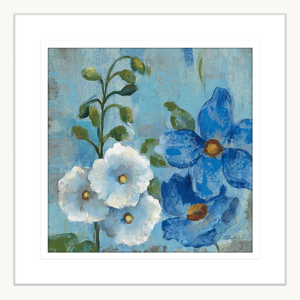 Hollyhocks and Blue | Framed Art | Wall Art Gold Coast | Wallpaper | Innovate Interiors