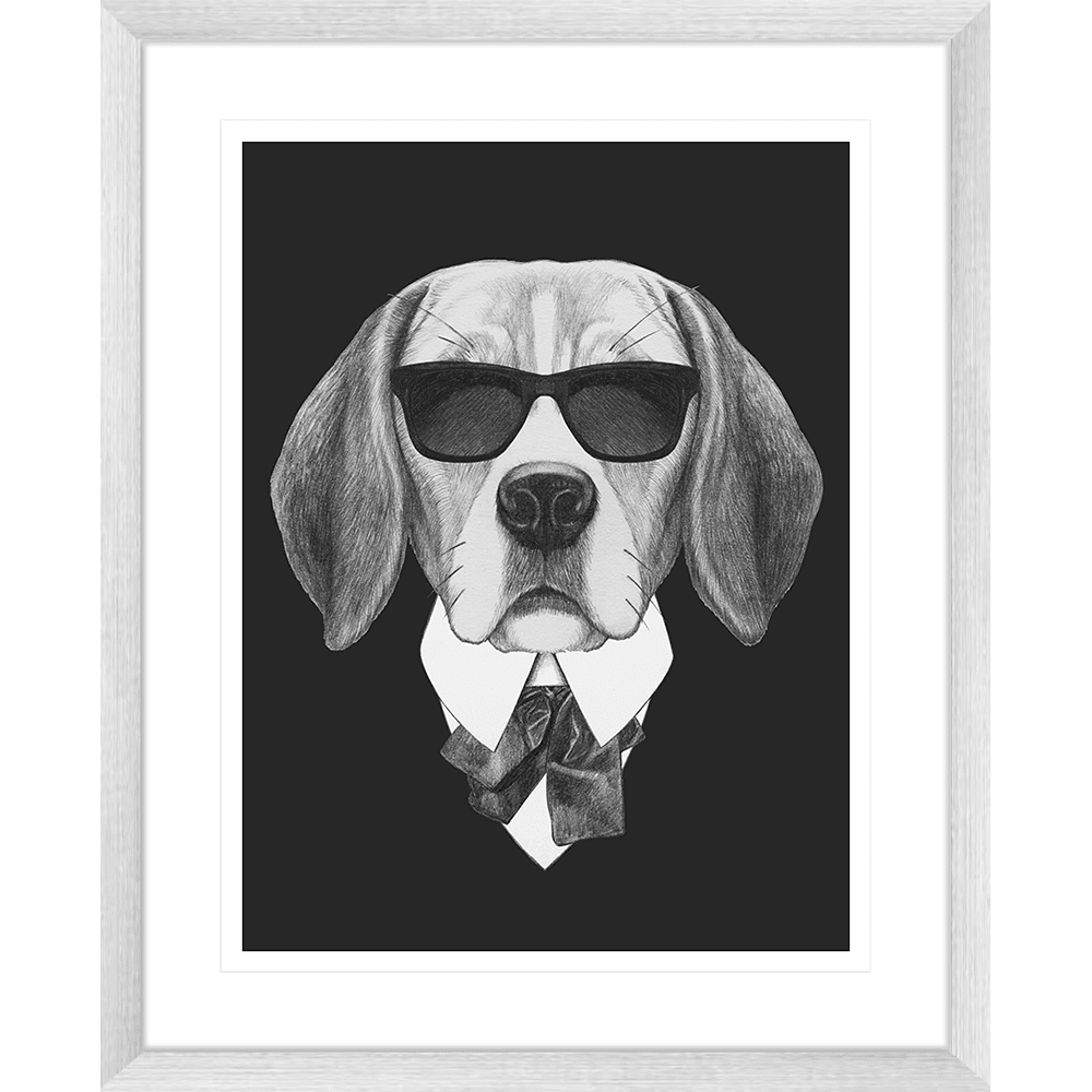 Agent Ruff Collection - AGENT01 - Framed Art Print Silver