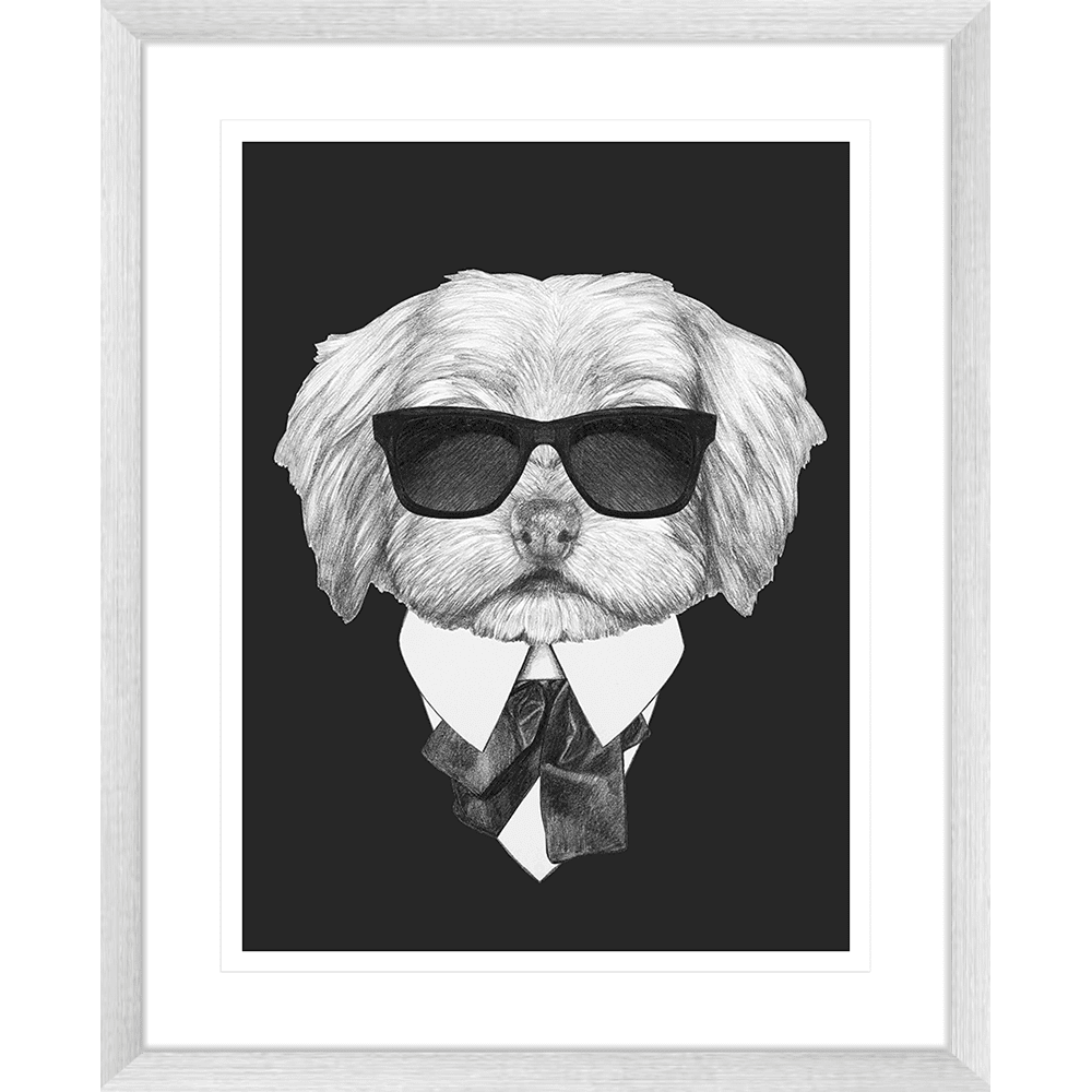 Agent Ruff Collection - AGENT03 - Framed Art Print Silver