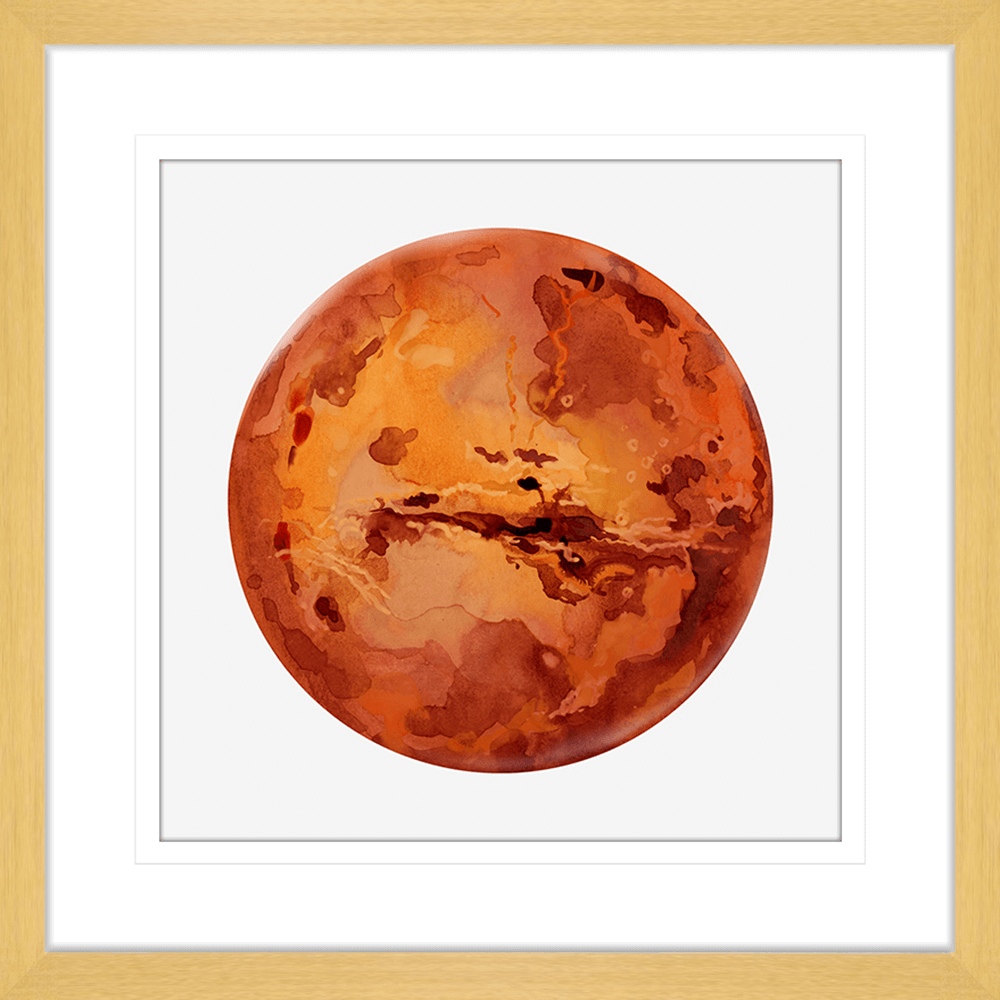 Astronauts & Asteroids Collection - ASTRO01 - Framed Art Print Oak
