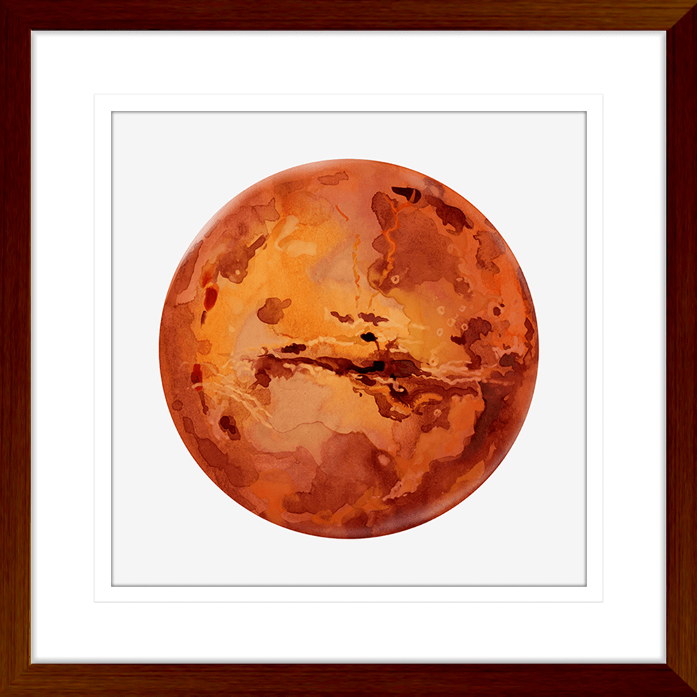 Astronauts & Asteroids Collection - ASTRO01 - Framed Art Print Teak