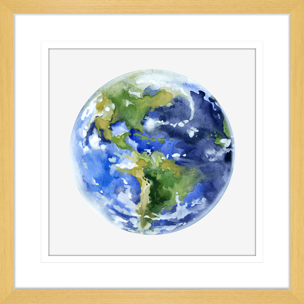 Astronauts & Asteroids Collection - ASTRO04 - Framed Art Print Oak