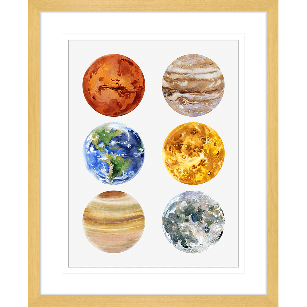 Astronauts & Asteroids Collection - ASTRO05 - Framed Art Print Oak