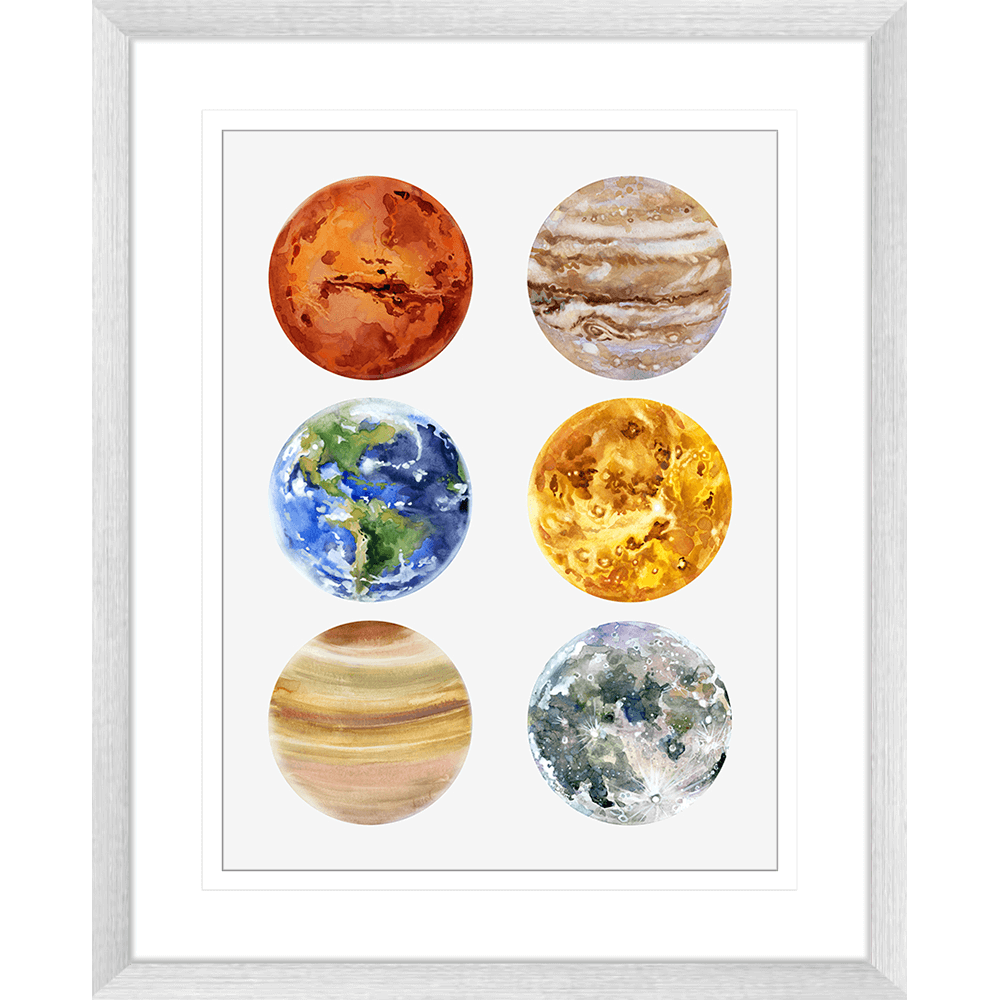 Astronauts & Asteroids Collection - ASTRO05 - Framed Art Print Silver