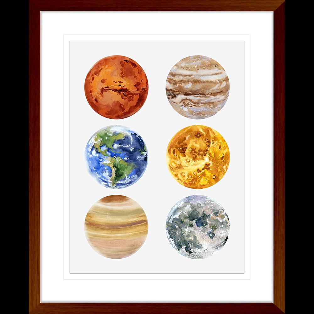 Astronauts & Asteroids Collection - ASTRO05 - Framed Art Print Teak