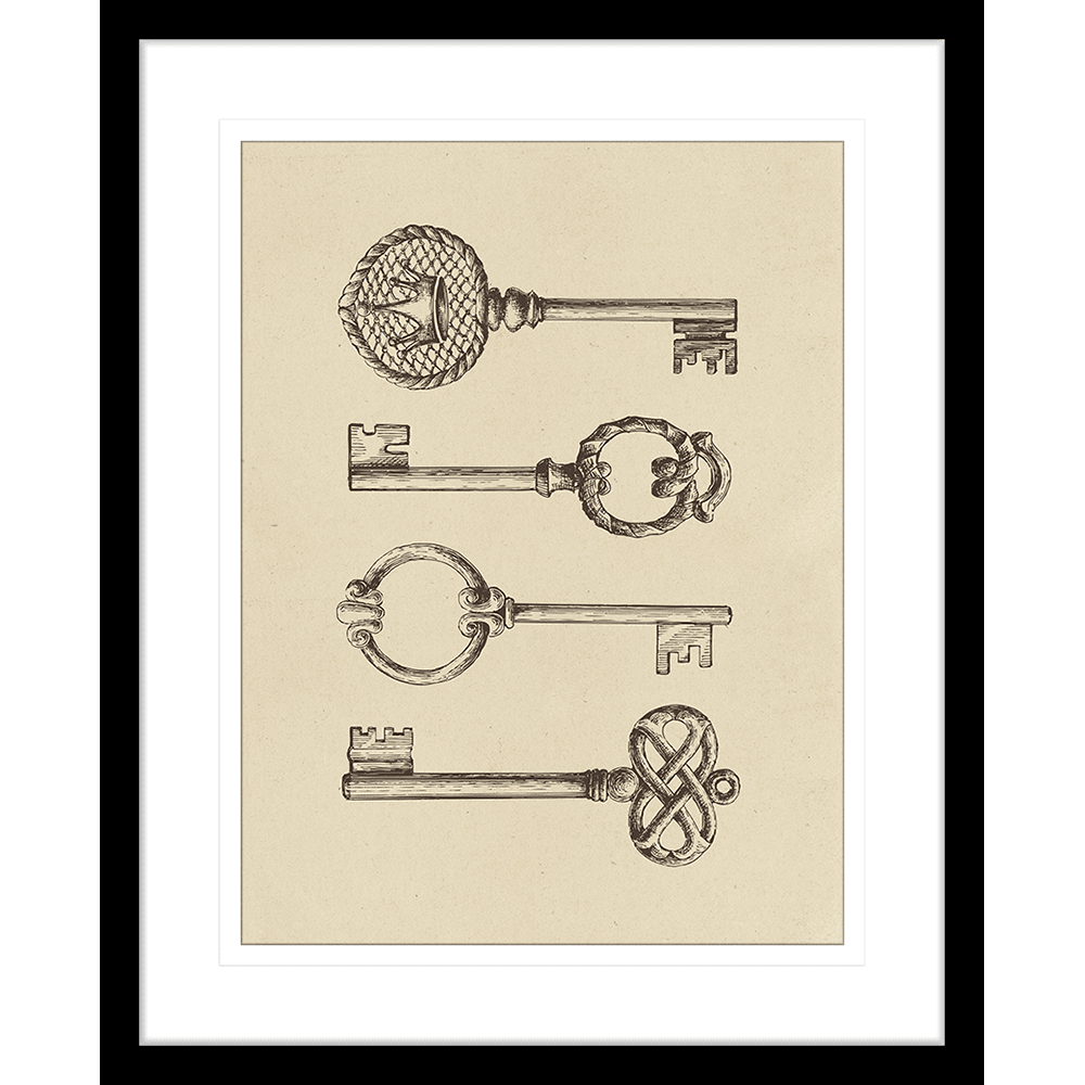 Skeleton Keys Collection - SKE01 - Framed Art Print Black