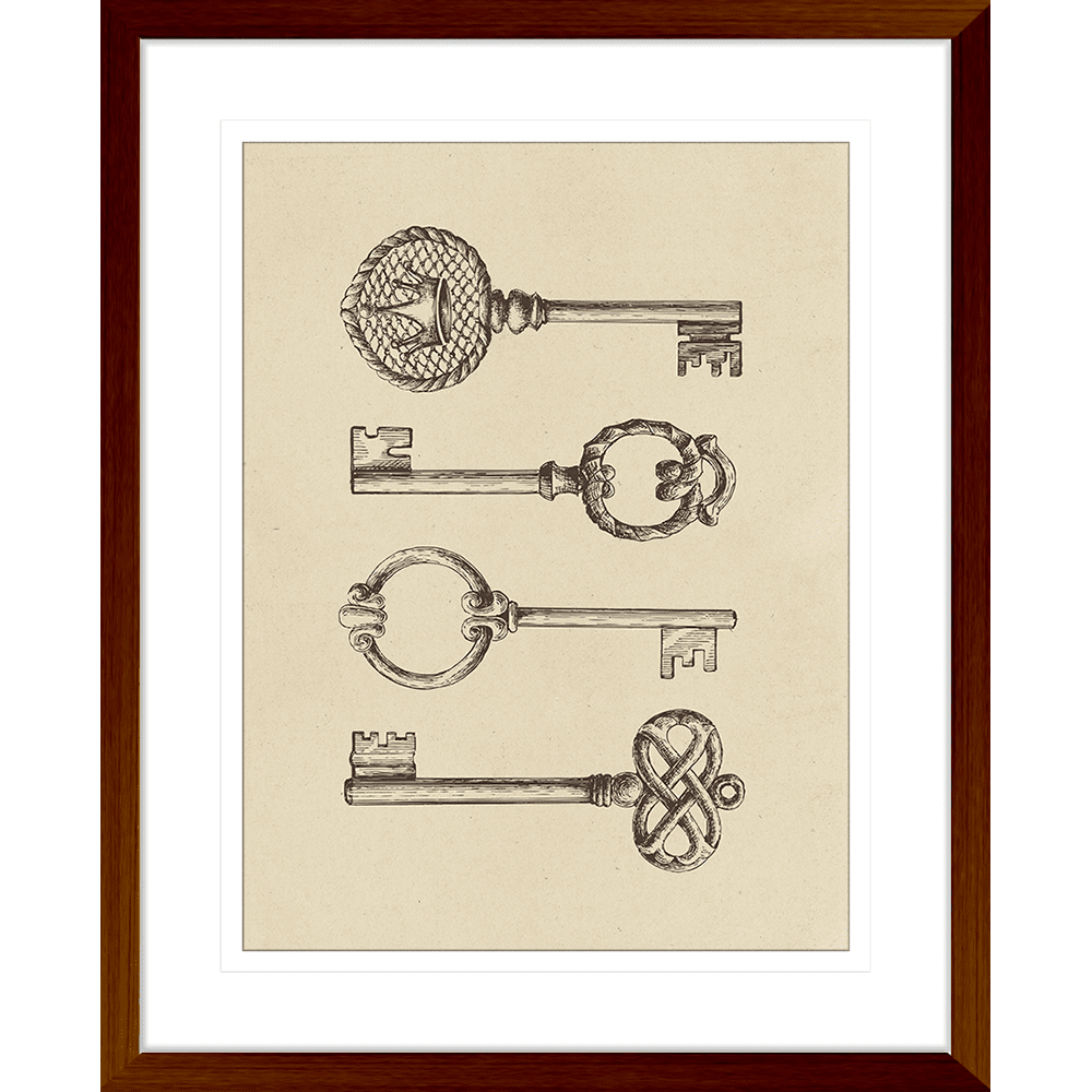 Skeleton Keys Collection - SKE01 - Framed Art Print Teak