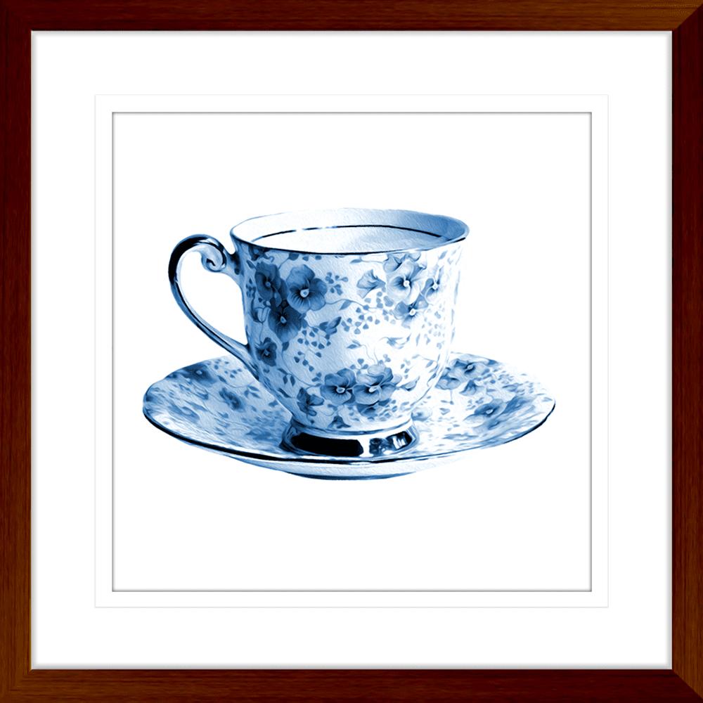 Tea Party Collection - TEA01 - Framed Art Print Teak