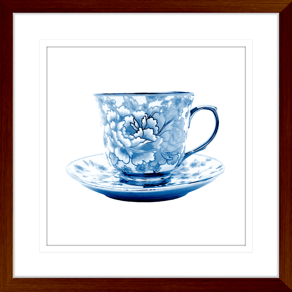 Tea Party Collection - TEA02 - Framed Art Print Teak