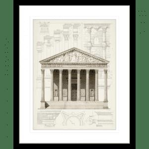 Classical Greek Columns | Black Framed Artwork