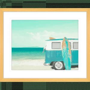 Surf and Sunsets 02   Oak Framed Artwork