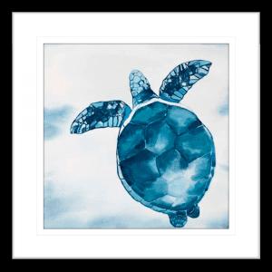 Swimming Turtle 01 | Black Framed Artwork