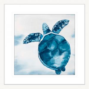 Swimming Turtle 01 | White Framed Artwork