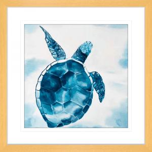 Swimming Turtle 02 | Oak Framed Artwork
