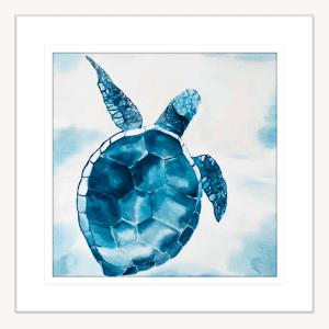 Swimming Turtle 02 | White Framed Artwork