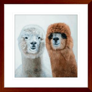 Lovable Llamas 01 | Teak Framed Artwork