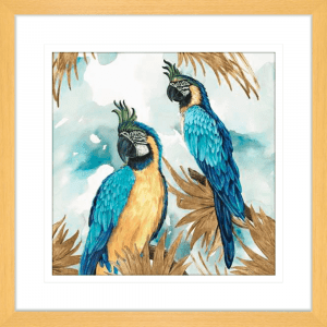 Golden Parrots | Oak Framed Artwork