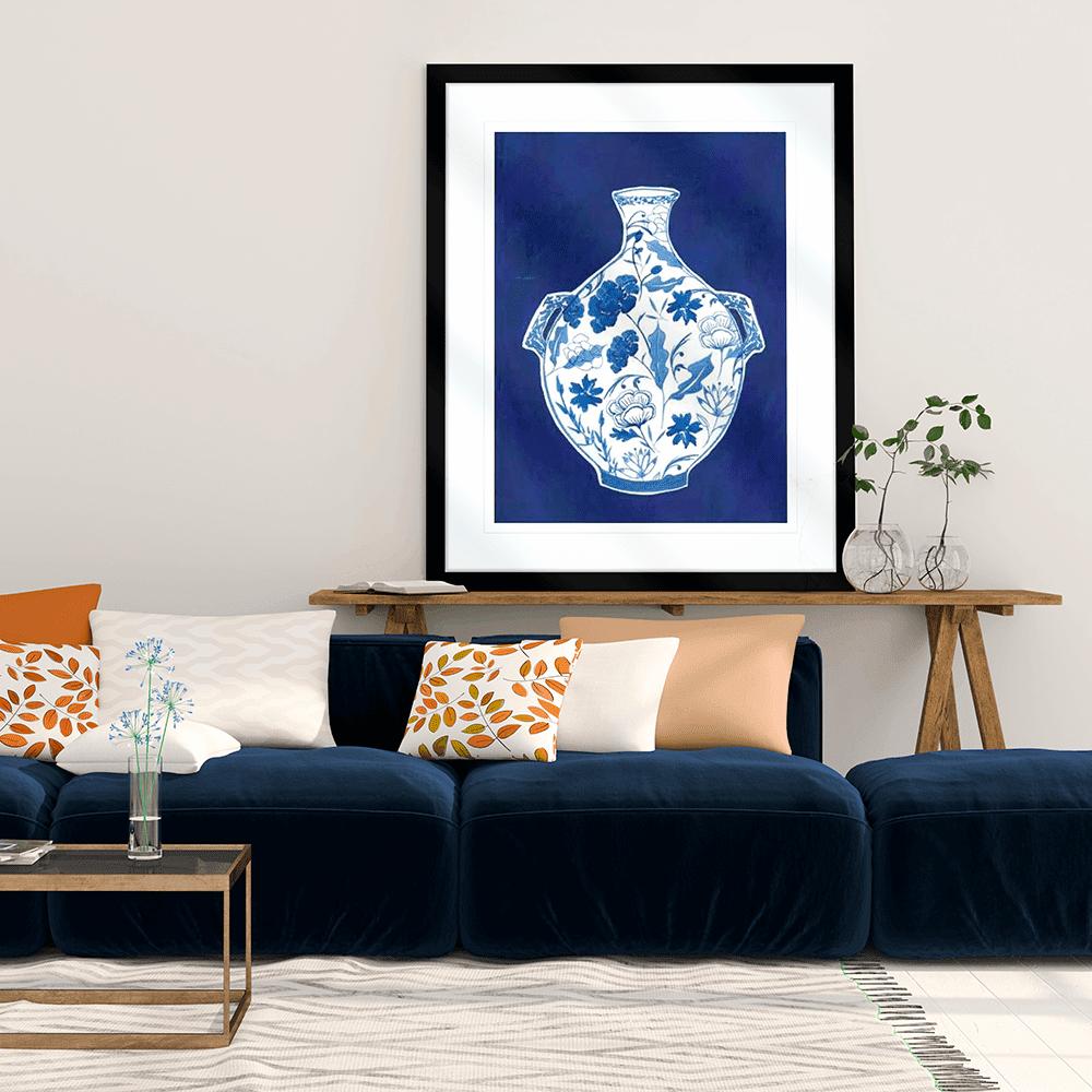 Indigo Porcelain Vase 01   Artwork Styled Room