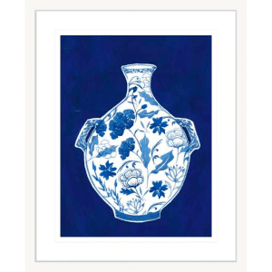 Indigo Porcelain Vase 01 | White Framed Artwork