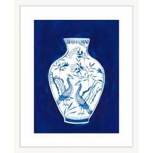 Indigo Porcelain Vase 02 | White Framed Artwork