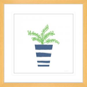 Striped Pot 01 | Oak Framed Artwork