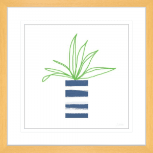 Striped Pot 02 | Oak Framed Artwork