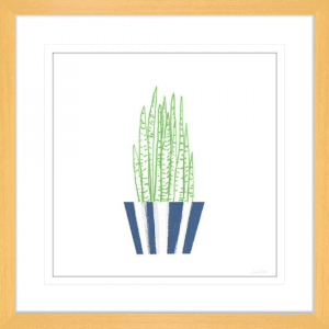 Striped Pot 03 | Oak Framed Artwork