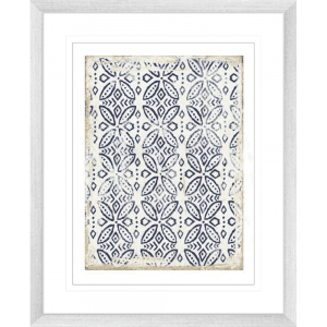 Navy Geo | Silver Framed Artwork