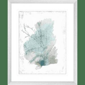 Teal Delicate Coral 02 | Silver Framed Artwork