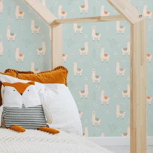 Lilo Llama Cactus Green | Wallpaper Styled Room
