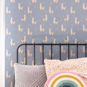 Lilo Llama Bluebell   Wallpaper Styled Room
