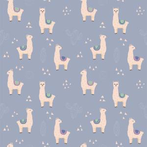 Lilo Llama Bluebell   Wallpaper Swatch