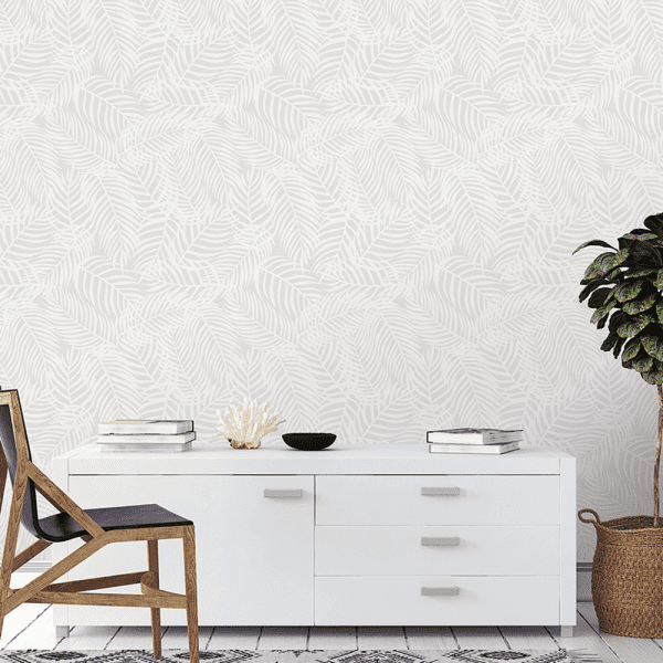 Dove Grey Palms | Wallpaper Styled Room