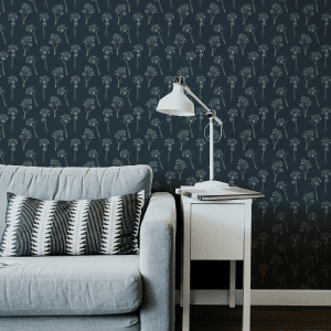 Agapanthus Navy   Wallpaper Styled Room