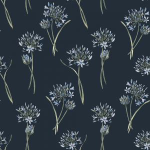 Agapanthus Navy   Wallpaper Swatch