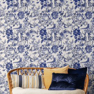 Enchanted Garden Navy | Wallpaper Styled Room