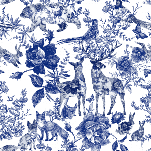Enchanted Garden Navy | Wallpaper Swatch
