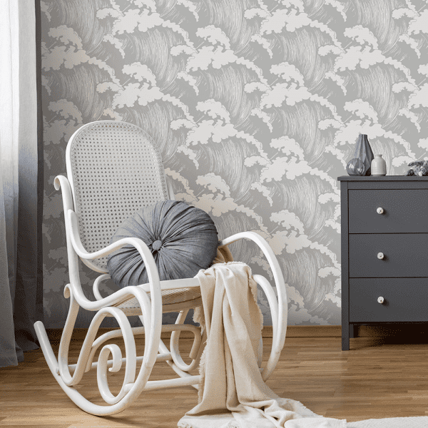 Japanese Waves Dove | Wallpaper Styled Room