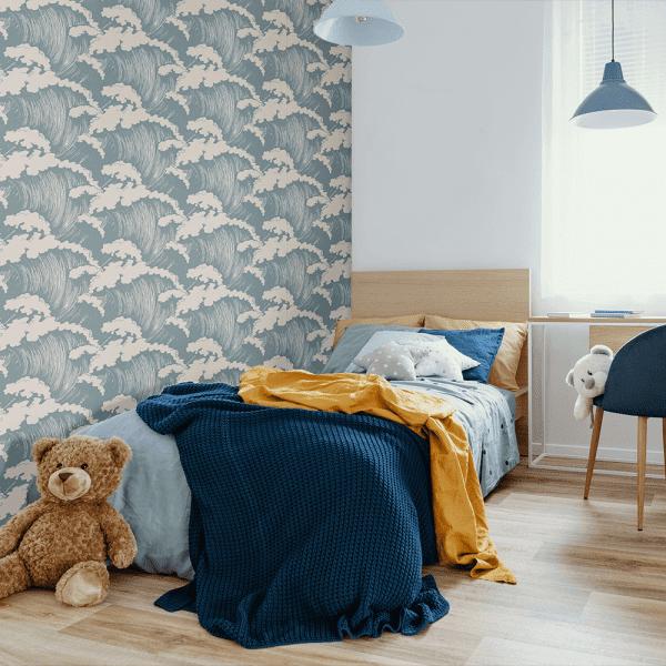 Japanese Waves Steel | Wallpaper Styled Room