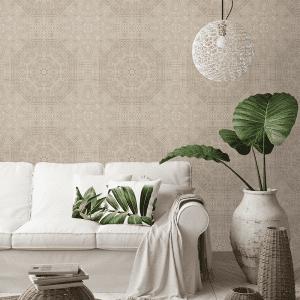 Mandala Hessian   Wallpaper Styled Room